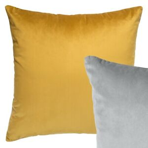 Reversible Velvet Cushion Mustard Yellow Grey Sofa Throw Pillow Cover 45cm 18in
