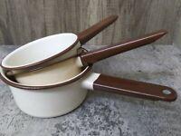 Vintage Set of Brown & Cream Enamel Stacking Pans Light Weight Pots Cooking  EUC