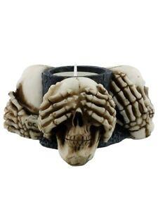 Candle Holder Three Wise Skulls Tealight Holder