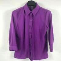Laura Scott Women's Button Up Top Blouse Size Medium Petite Purple