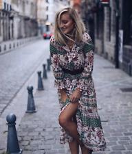 Zara Verde y Roja Boho Vestido Midi Con Volantes Espíritu Libre Talla M bloggers Fave