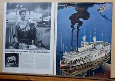 Multi-page 1940 magazine article - William Bunn paints Mississippi Steamboats