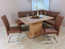 Eckbankgruppe 4-tlg. Esstisch Stühle Bank Essgruppe Farbe: Kernbuche/Cognac