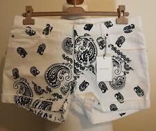 "Pierre Balmain White Denim Print Mini Shorts Size uk 16 italy 42 fits 34""Waist"