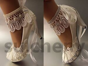 """Su.cheny 3 """" 4 """" Blanc Ivoire Dentelle Ruban Perles Chaussures Mariage Taille"""