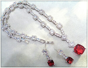 18K White Gold Over Glamour Diamond Red Ruby Necklace Earring Set Bridal, Party