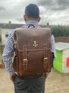 "18""Real genuine Leather Men's Backpack Satchel Trendy Bag laptop Rusksack Brown"