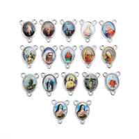 50Pcs Catholic Religious Silver Enamel Medals Charms 2-to-1 Connector 16mm