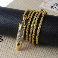Hip Hop Necklace Men Gold Bullet Shape Rhinestone Pendant Long Chain Jewelry