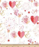 """FAT QUARTER VALENTINE'S ALL MY LOVE HEARTS CLASSY FABRIC 18""""X21"""" 100%COTTON"""