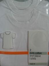 neuf M&S Pack 2 ans garçon 3 ans coton blanc t-shirt manche courte