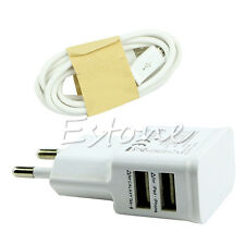 Dual USB 2A EU Plug AC Wall Charger Adapter + Micro USB Cable For Samsung HTC LG