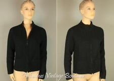 EILEEN FISHER Black Wool Cotton Blend Italian Yarn Knit Cropped Blazer Jacket M