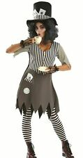 Adults Ladies Gothic Hallowed Mad Hatter Halloween Fancy Dress Costume Book Week