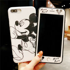 Set Disney Minnie Case for iPhone 8 7 6 Plus 360 Sketch Cover + Front Glass Film
