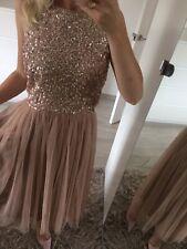 🌸 Maya Uk14 Sequin Dress Stretch MIDI Tutu Tulle Mink Blush Pink Prom New