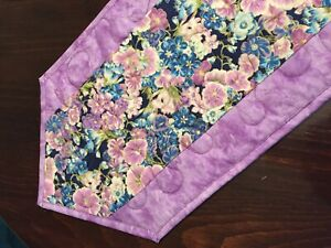 Handcrafted-Quilted Table Runner- Summer Is Here- Flowers in Blue/Purple 2020