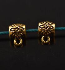 100pcs Bails Gold Flower Connectors Holder Clasp Fit 2mm Leather Cord Bracelet