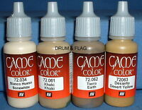 VALLEJO GAME COLOR PAINT - DESERT CAMO CAMOUFLAGE SET - 4 x 17ml bottles. DF23
