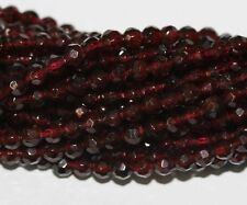 "AAA 14"" St Almandine Garnet Faceted Round  Beads 4mm"