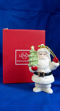 Lenox Santa Claus Porcelain Ornament with Gift Box Very Merry Christmas