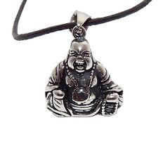 Edelstahl Schmuck Kette Anhänger Buddha Budda Buddah silber 3D massiv