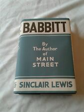 Babbitt Sinclair Lewis 1st Edition 1st Printing 1922 w/Dust Jacket