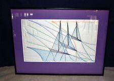 ORIGINAL BARBARA BESKIND THREAD & NEEDLE ART 3 BOATS AMID SHIPS - FRAMED, SIGNED