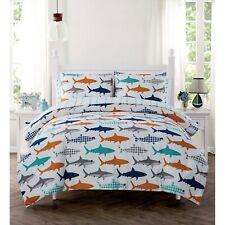 Kids Orange Blue Gray Shark Fin Ocean Fish 5pc Twin Size Comforter & Sheet Set