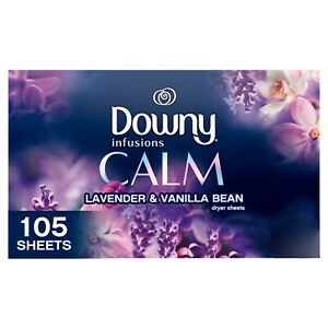 Downy Infusions Fabric Softener Dryer Sheets Calm Lavender & Vanilla Bean 105 Ct