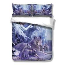 Glacier Wolf Doona Quilt Duvet Cover Set Single Double Queen King Size Bed Snow