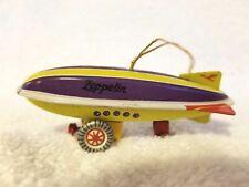 Vintage Tin Litho Toy Zeppelin Ornament Zz Germany Christmas Purple Yellow