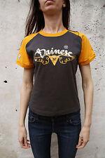 Dainese Femmes Orange Gris Foncé T-shirt en coton à encolure ras-du-cou à manches courtes M Motard