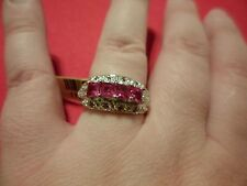Lab Created Square Cut Ruby Ring in Platinum Overlay-Size 7-1.90 Carats