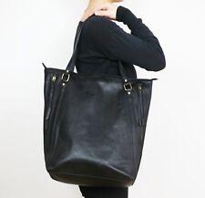 100% Genuine Cow Leather Womens Large Kylie Bag Plain Shoulder Strap Handbag Blk