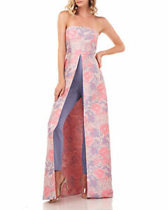 Kay Unger Mila Straples Floral Jacquard Jumpsuit with Tapered Leg and Full Skirt