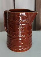 Brown daisy flower 1950s Marcrest Oven-Proof Stoneware Pitcher. Vintage pottery