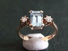 Pretty Diamond Aquamarine and Diamond Ring Size K 1/2