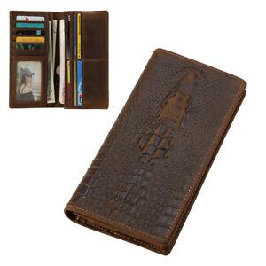 RFID Blocking Men Real Leather Long Wallet Bifold Card Card Holder Vintage Purse