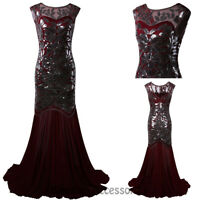 K186 Red Gatsby Abbey Flapper Dress Wedding Evening Party Bridesmaid Costume