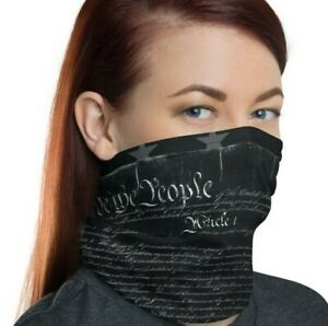 We The People Gunmetal Grey Constitution Face Mask, United States, Neck Gaiter
