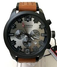 Mens Fashion Watch Curren M8192 Brown Leather Band Black Case 1 ATM