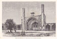 Antique print Persia Iran Kazbin Qazvin mastched Chah 1883