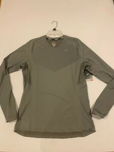 Nike Mens Dri-Fit Stay Warm Running Shirt Gray LS Large 474043 009 NEW With Tags