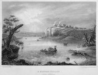 MISSOURI RIVER MANDAN NATIVE PLAINS INDIAN TRIBE CAMP ~ 1855 Art Print Engraving