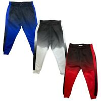 Boys Kids Panel Joggers Faded Two Tone Jogging Bottoms Tracksuits Fleece Sport