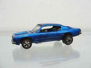 "1967 MATTEL HOT WHEELS REDLINE CUSTOM BARRACUDA BLUE DIECAST 3"" SPECTRAFLAME CAR"