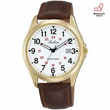New CITIZEN Q&Q Watches Falcon White Brown Leather Belt D026-104 Men's F/S