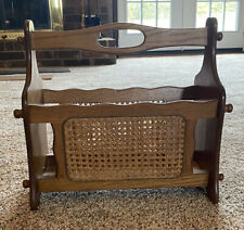 Vintage wooden magazine Light Wood caning woven wicker rattan BOHO rack 1970s