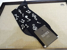 Dion Mid Calf Cotton Blend Socks black white musical notes treble cleft